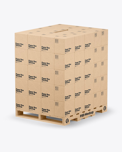 Download Wooden Pallet With Kraft Boxes PSD Mockup