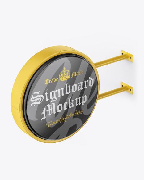 Glossy Round Signboard Mockup
