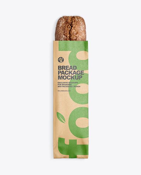 Download Kraft Package w Bread PSD Mockup