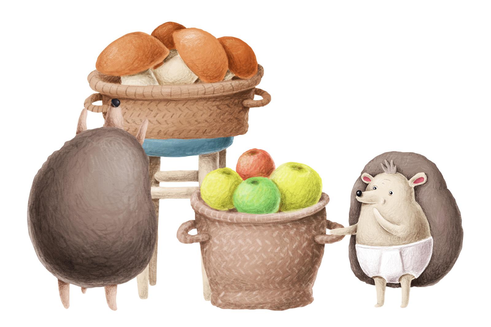 Hedgehog family scene creation kit