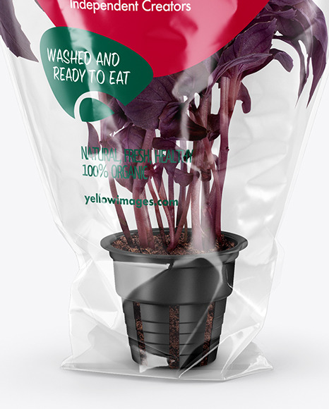 Plastic Bag With Purple Basil Mockup