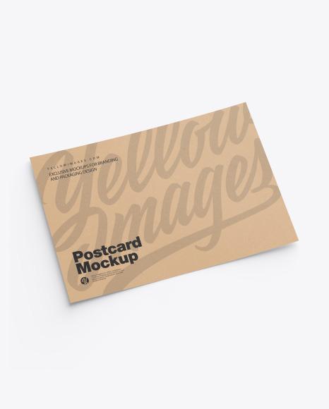 Download Kraft A5 Postcard PSD Mockup