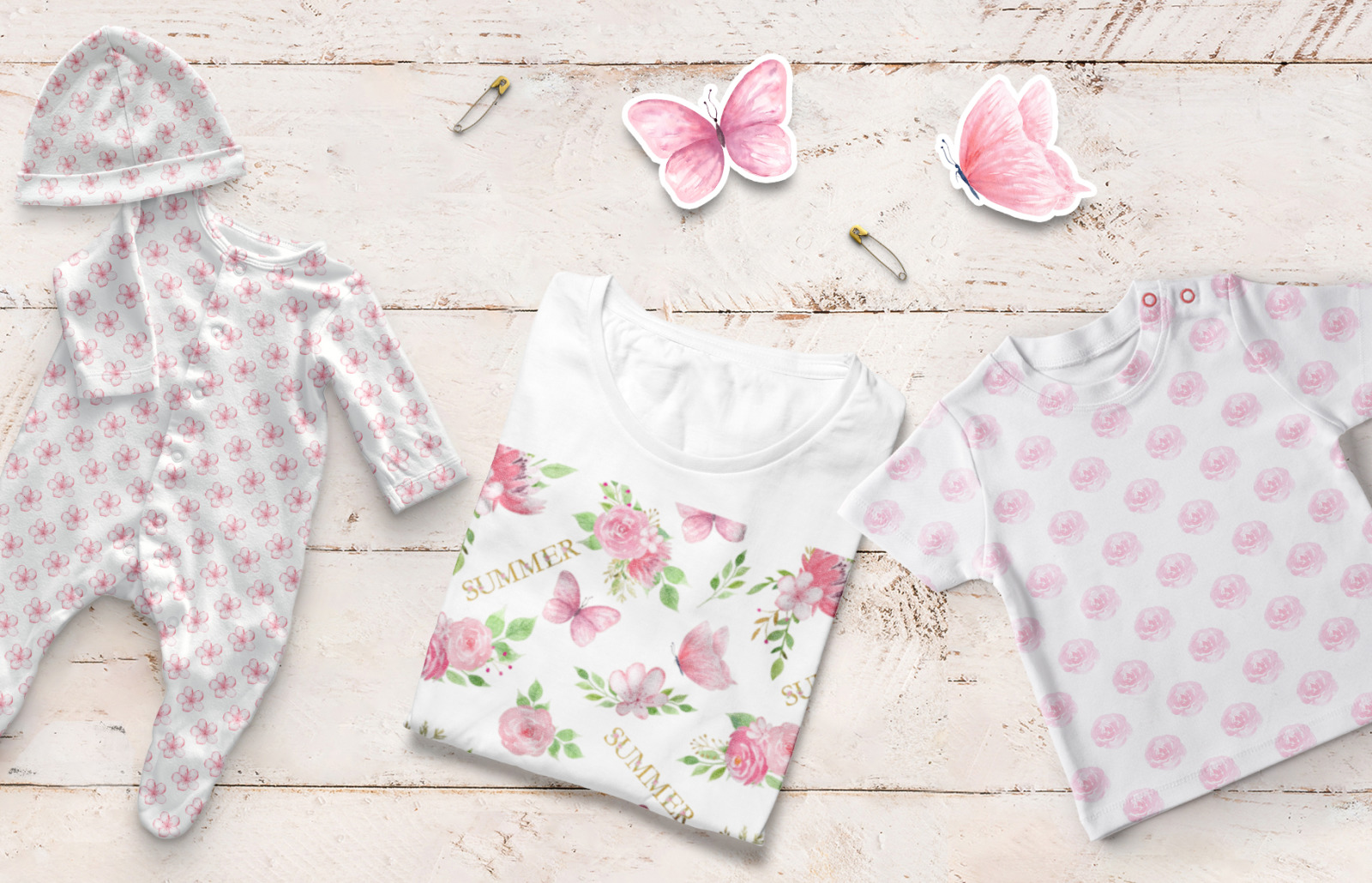 Watercolor Floral and Butterfly Tenderly Collection.