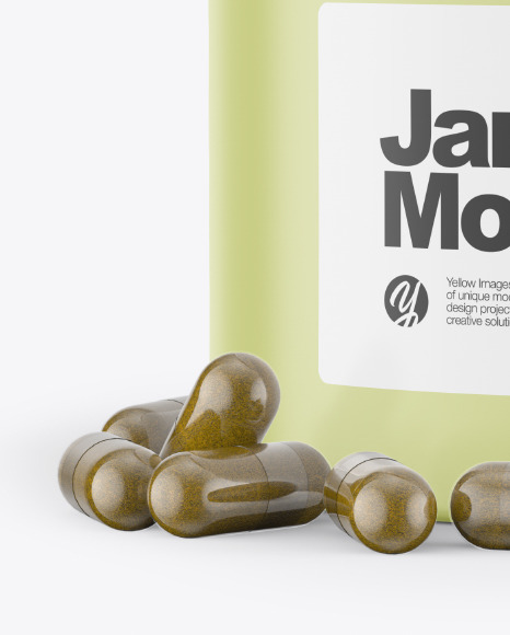 Jar With Pills Mockup