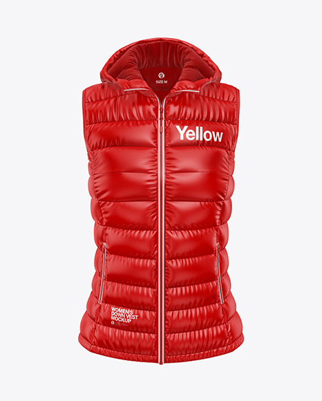 Download Glossy Womens Down Vest wHood Front View PSD Mockup