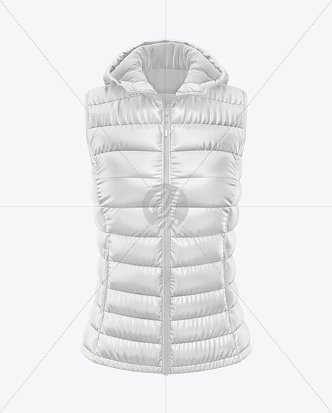 Download Glossy Womens Down Vest Whood Mockup Back Half Side View Yellowimages