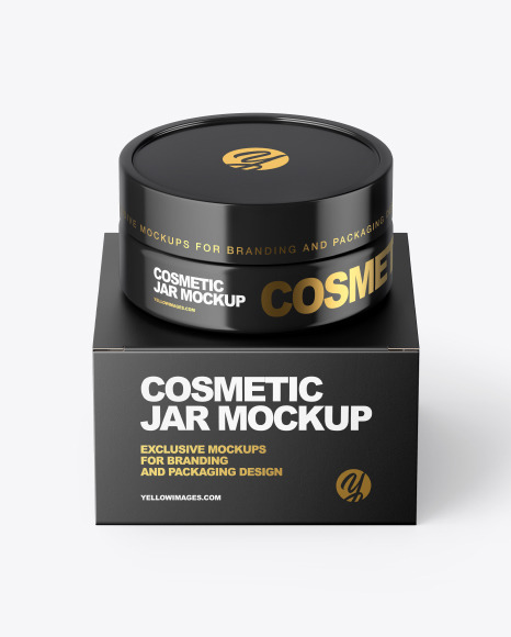 Download Glossy Cosmetic Jar with Paper Box PSD Mockup