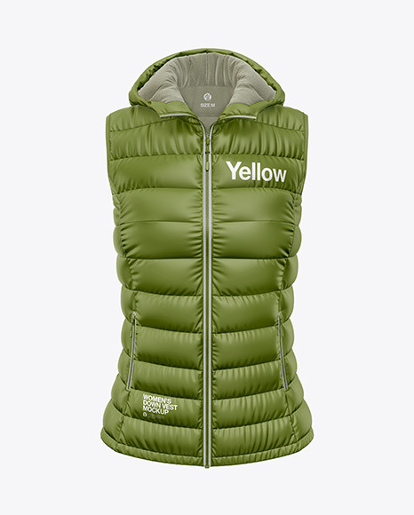 Download Matte Womens Down Vest wHood Front View PSD Mockup