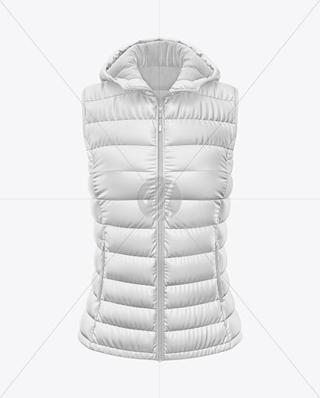 Matte Women's Down Vest w/Hood Mockup - Front View