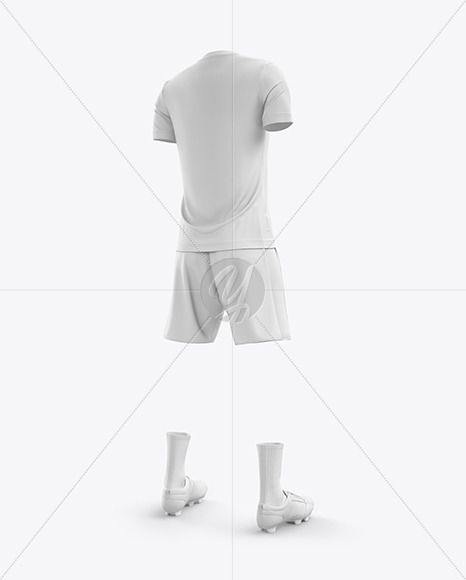 Men's Full Soccer Kit with Lace-Up Jersey mockup (Hero Back Shot)