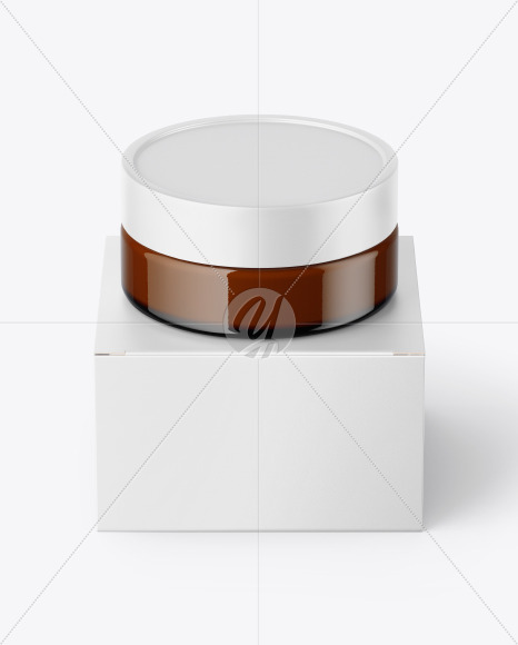 Amber Glass Cosmetic Jar with Paper Box Mockup