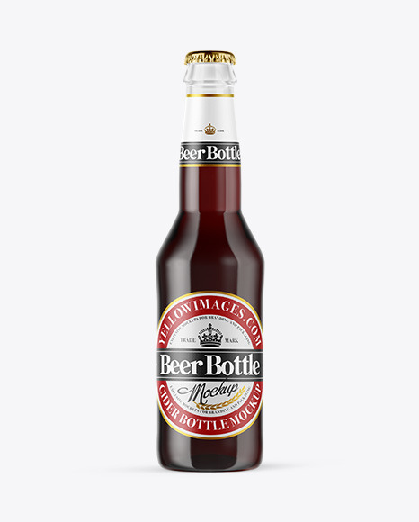 Download Clear Glass Bottle with Red Ale PSD Mockup