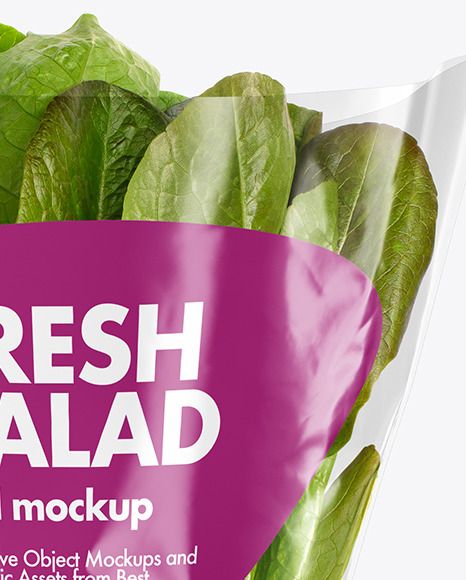 Plastic Bag With Romaine Lettuce Mockup