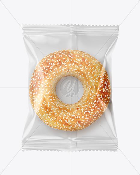Plastic Bag With Donut With Sesame Seeds Mockup In Bag Sack