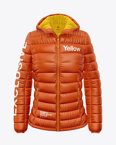 Matte Women's Down Jacket w/Hood Mockup - Front View