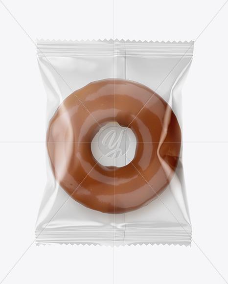 Plastic Bag With Milk Chocolate Glazed Donut Mockup