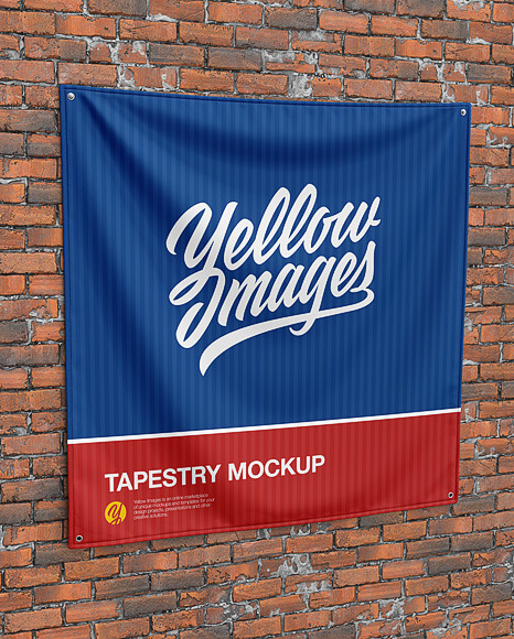 Wall Tapestry Mockup - Textile Fabric Banner Mockup