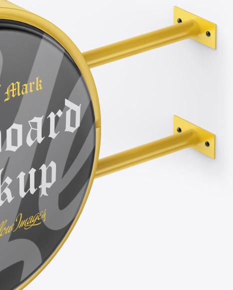 Matte Round Signboard Mockup