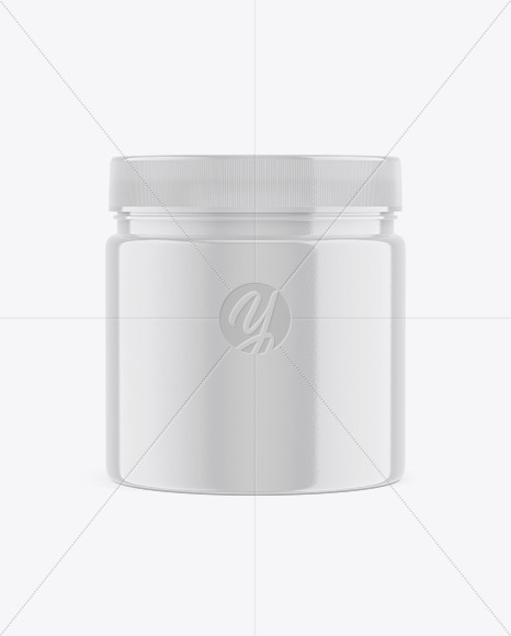 Sport Nutrition Glossy Plastic Jar Mockup - Front View