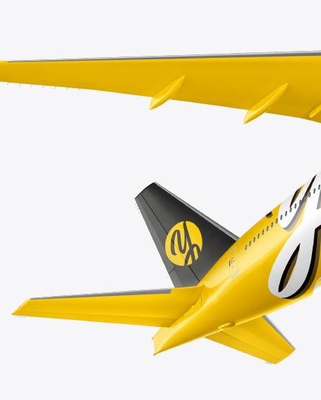 Flying Airliner Mockup - Half Side View (Hero Shot)