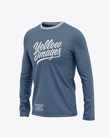 Men's Heather Long Sleeve T-Shirt - Front Half Side View