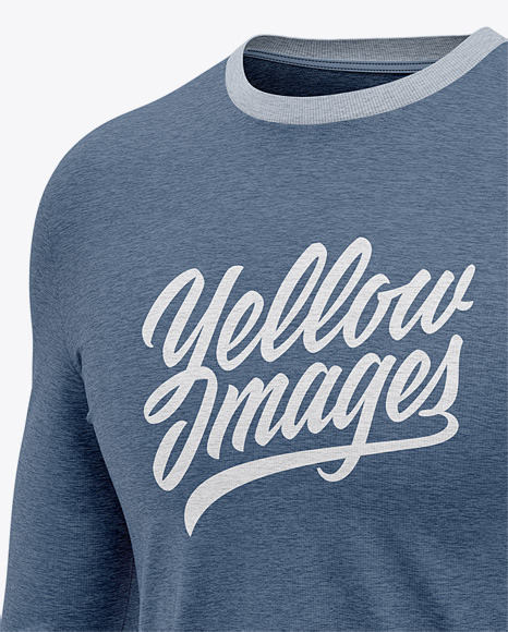 Download Mens Heather Long Sleeve T Shirt Mockup Front Half Side View Yellow Images