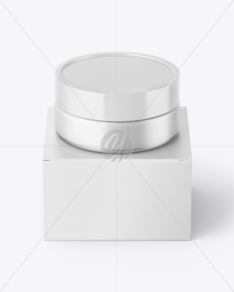Frosted Glass Cosmetic Jar with Paper Box Mockup