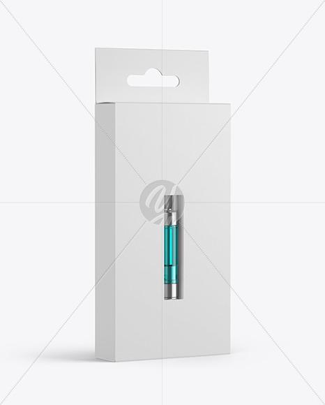 Paper Box with Vape Cartridge Mockup
