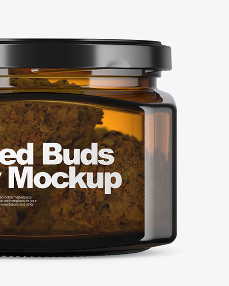 Square Amber Glass Jar with Weed Buds Mockup