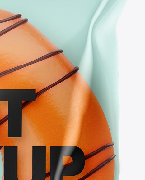 Plastic Bag With Orange Glazed Donut with Chocolate Stripes Mockup
