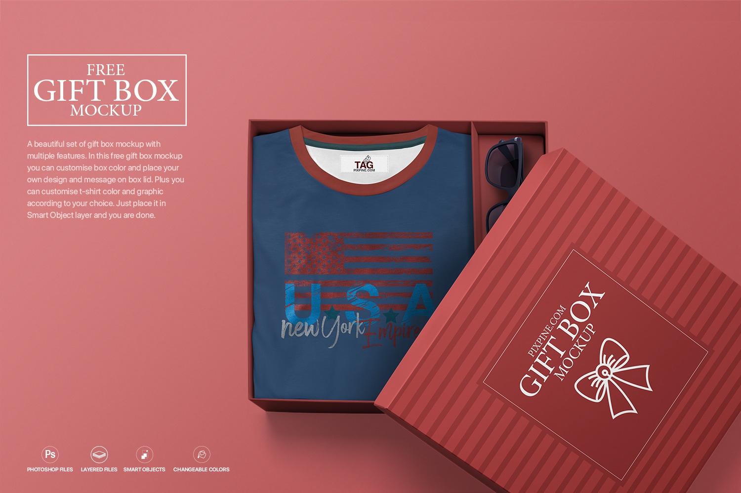 Free Gift Box Mockup In Free On Yellow Images Creative Store