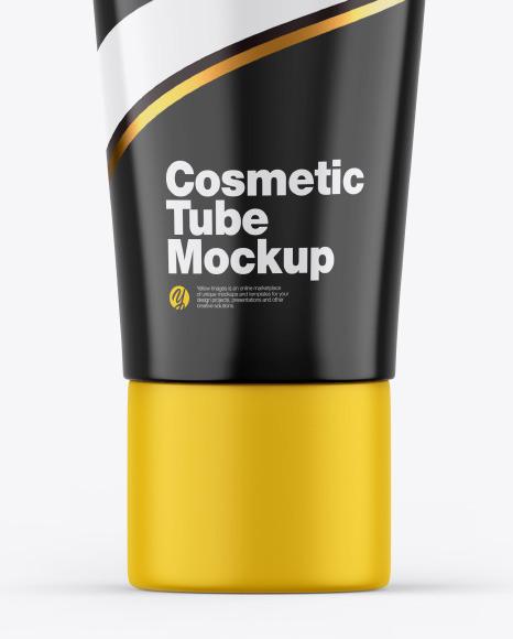 Glossy Cosmetic Tube w/ Matte Cap Mockup