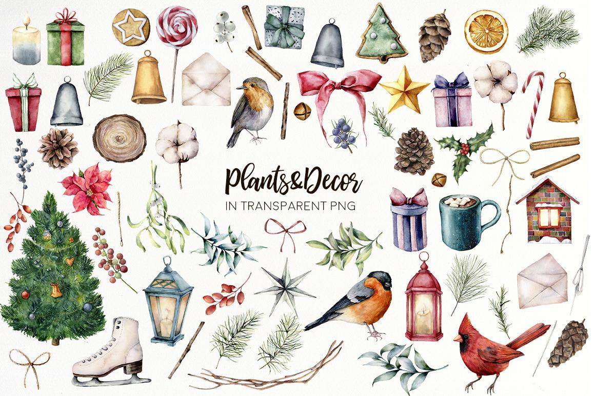 Christmas traditions. Watercolor bundle
