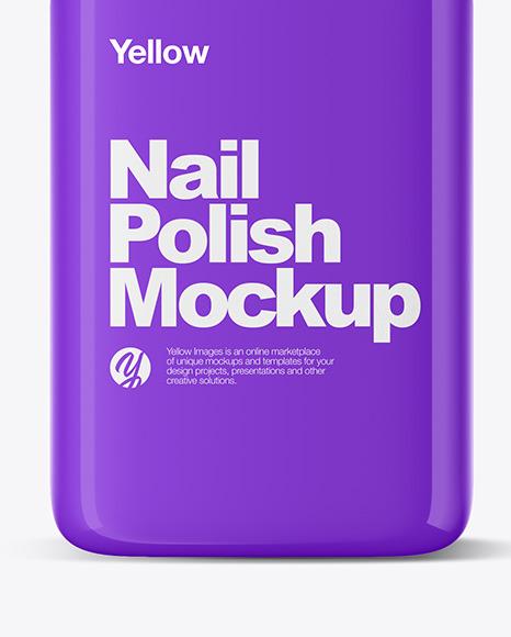 Glossy Nail Polish Bottle Mockup Front View
