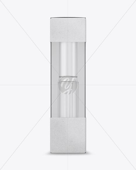 Kraft Box with Cosmetic Bottle Mockup