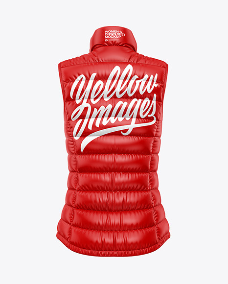 Glossy Women's Down Vest Mockup - Back View