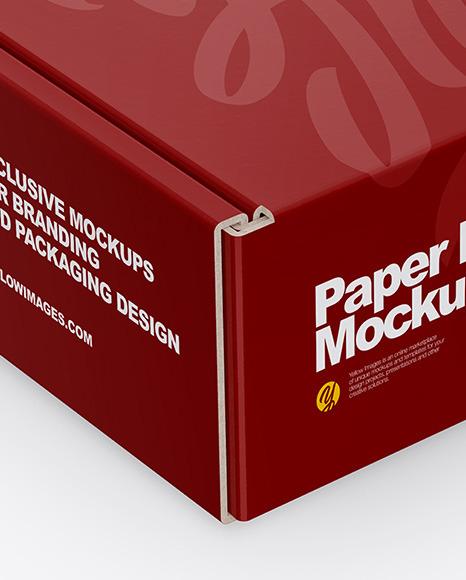 Paper Box Mockup Half Side View