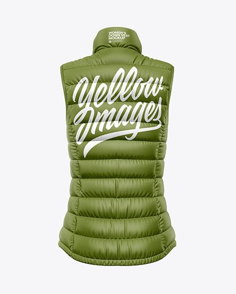 Matte Women's Down Vest Mockup - Back View