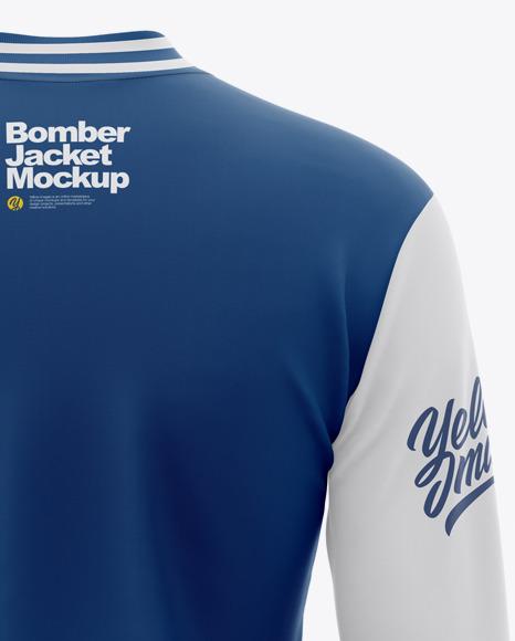 Women's Long Sleeve Bomber Jacket Mockup - Back View