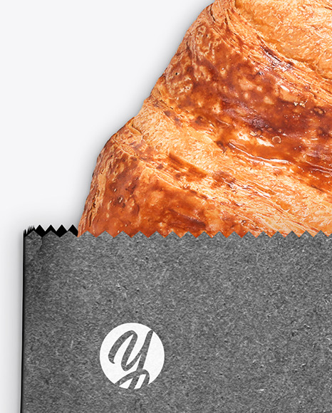 Kraft Package w/ Croissant Mockup