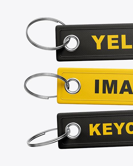 Three Keychains Mockup
