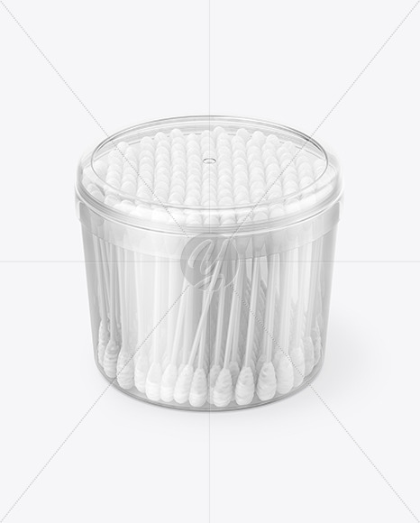 Plastic Box W Cotton Buds Mockup In Packaging Mockups On