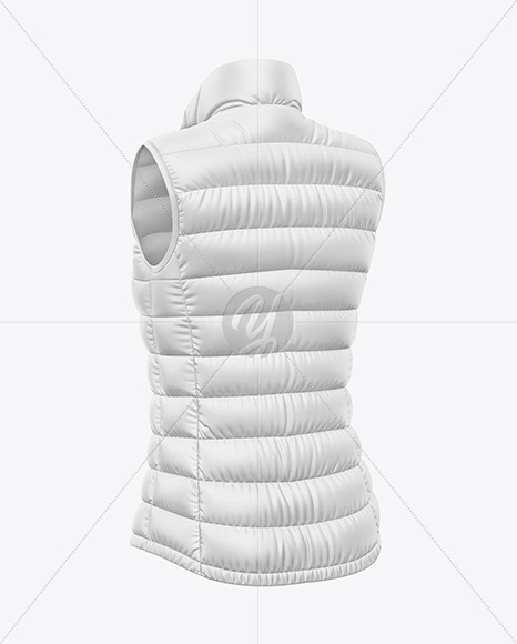 Download Glossy Womens Down Vest Mockup Back View Yellowimages