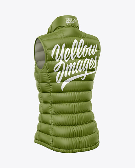 Matte Women's Down Vest Mockup - Back Half Side View