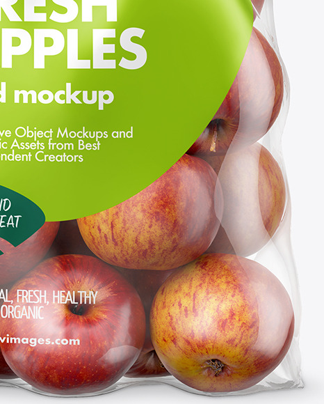 Plastic Bag with Red Apples Mockup