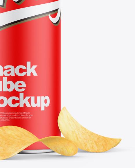 Matte Snack Tube w/ Chips Mockup