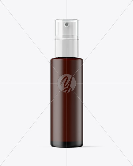Frosted Amber Cosmetic Pump Bottle Mockup