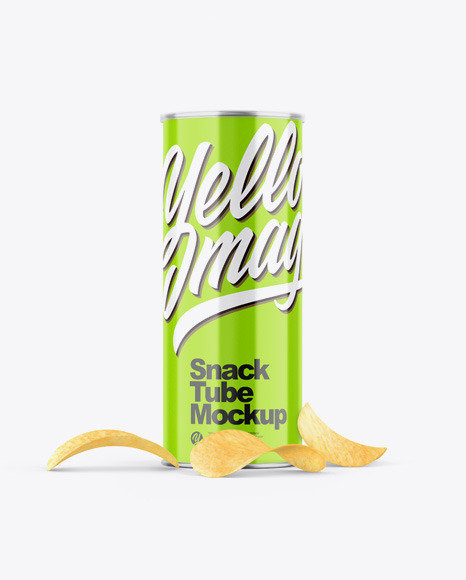 Glossy Snack Tube w/ Chips Mockup