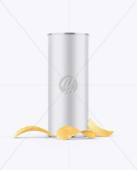 Paper Snack Tube w/ Chips Mockup
