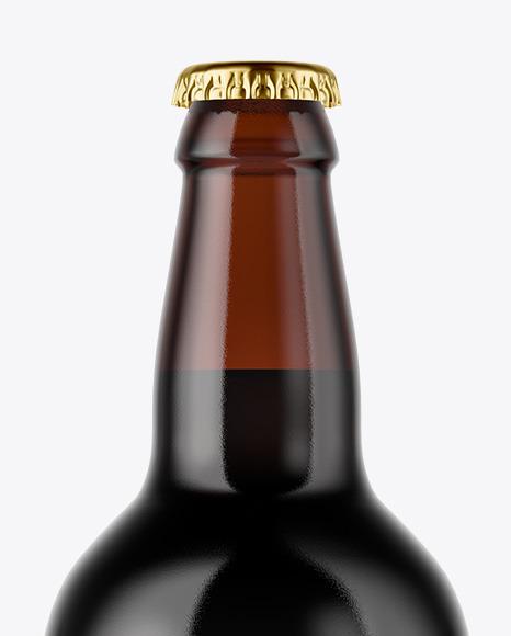 Amber Glass Dark Beer Bottle Mockup
